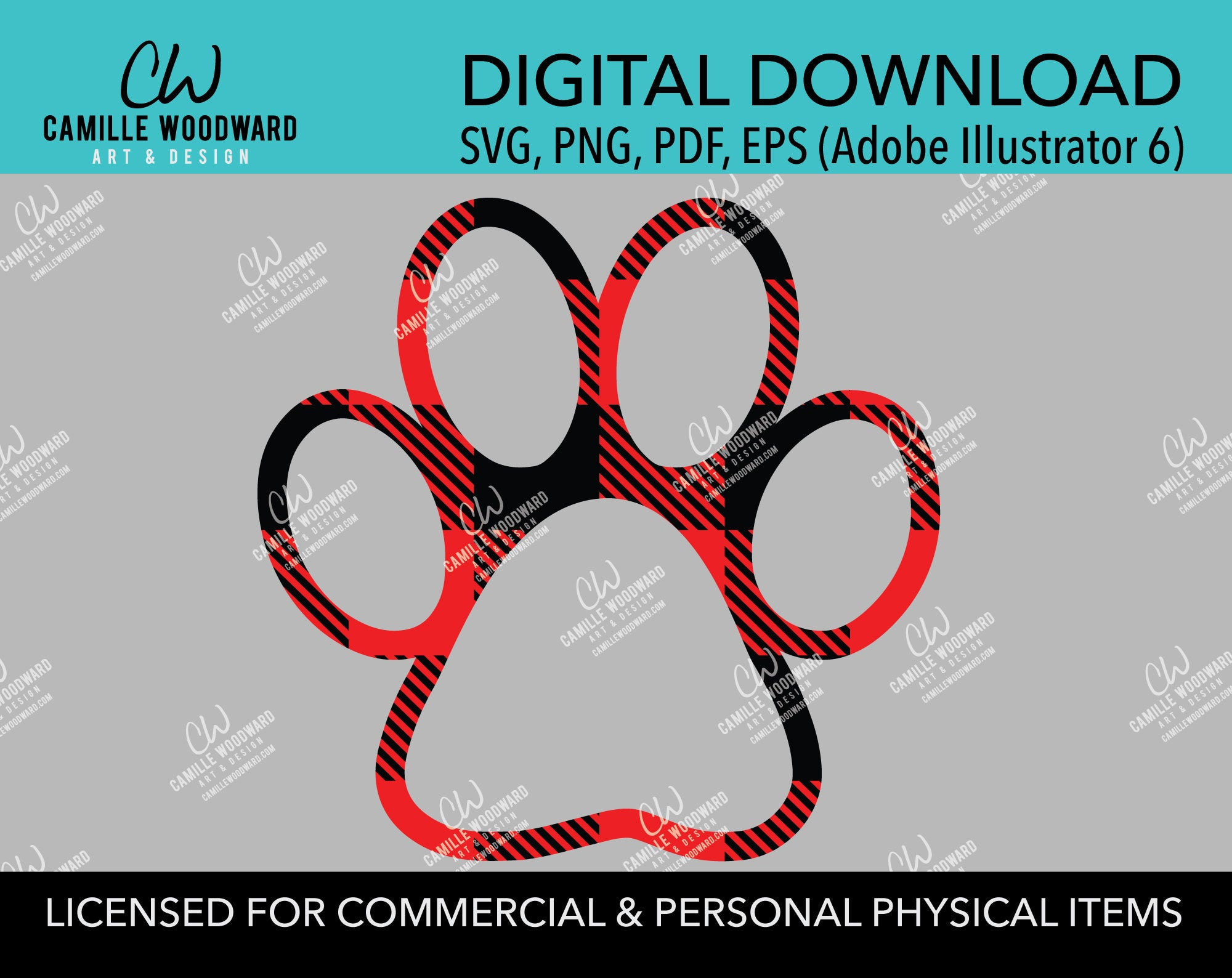 Buffalo Plaid Paw Print Red Black Transparent Pads, SVG, EPS, PNG - Sublimation Digital Download