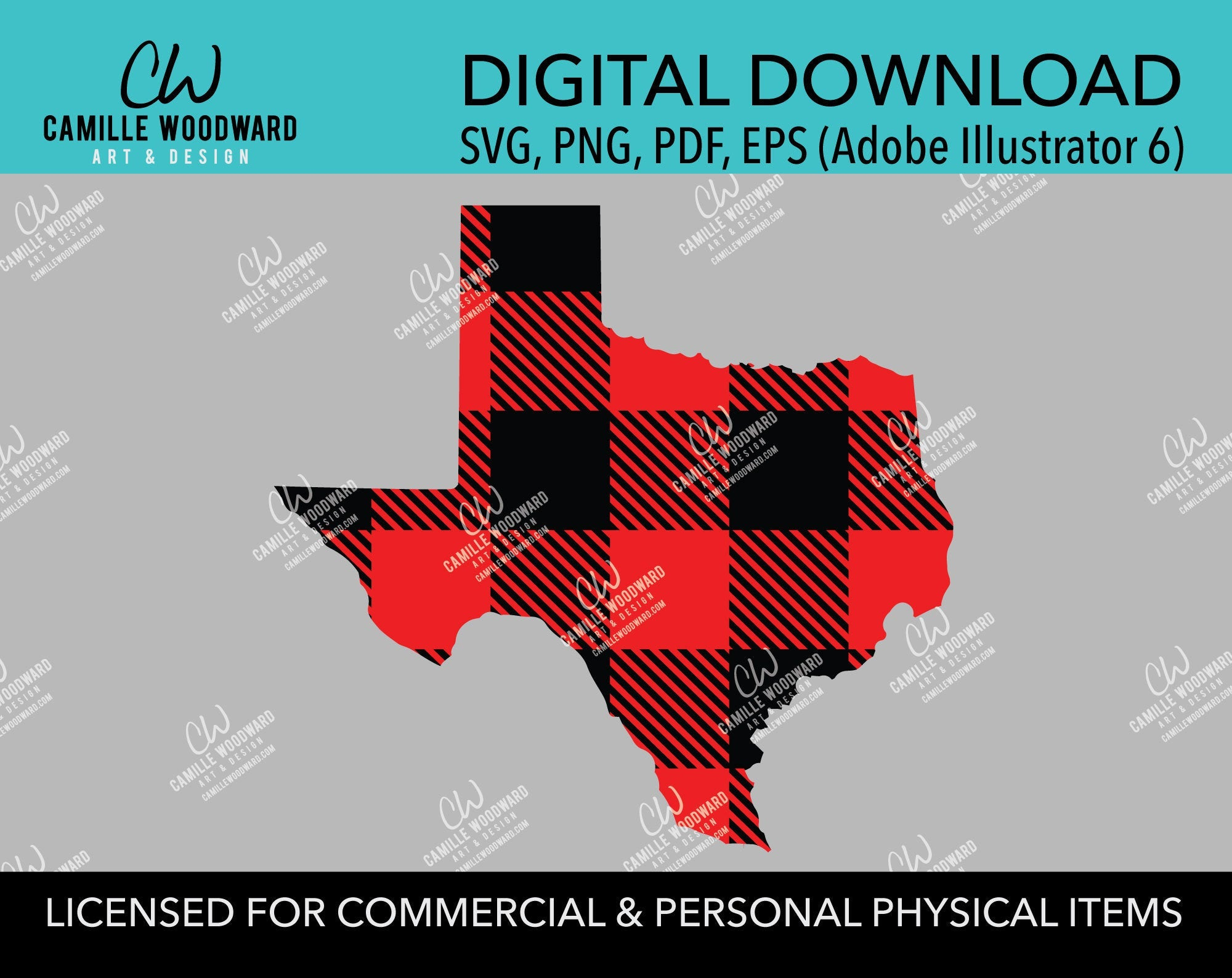 Buffalo Plaid Texas Red Black No Outline, SVG, EPS, PNG - Sublimation Digital Download Transparent
