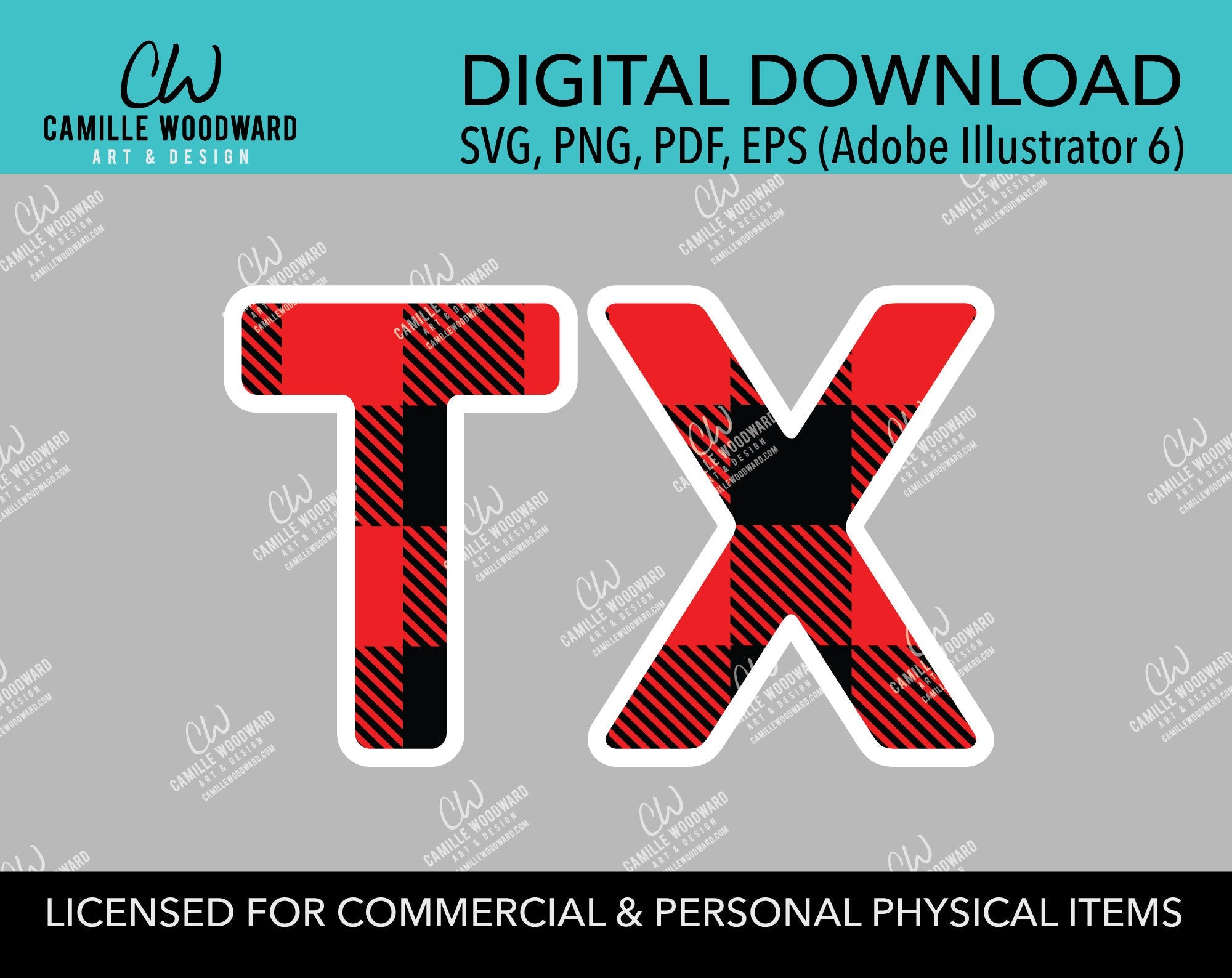 Buffalo Plaid Texas Abbreviation Red Black White Outline, SVG, EPS, PNG - Sublimation Digital Download Transparent