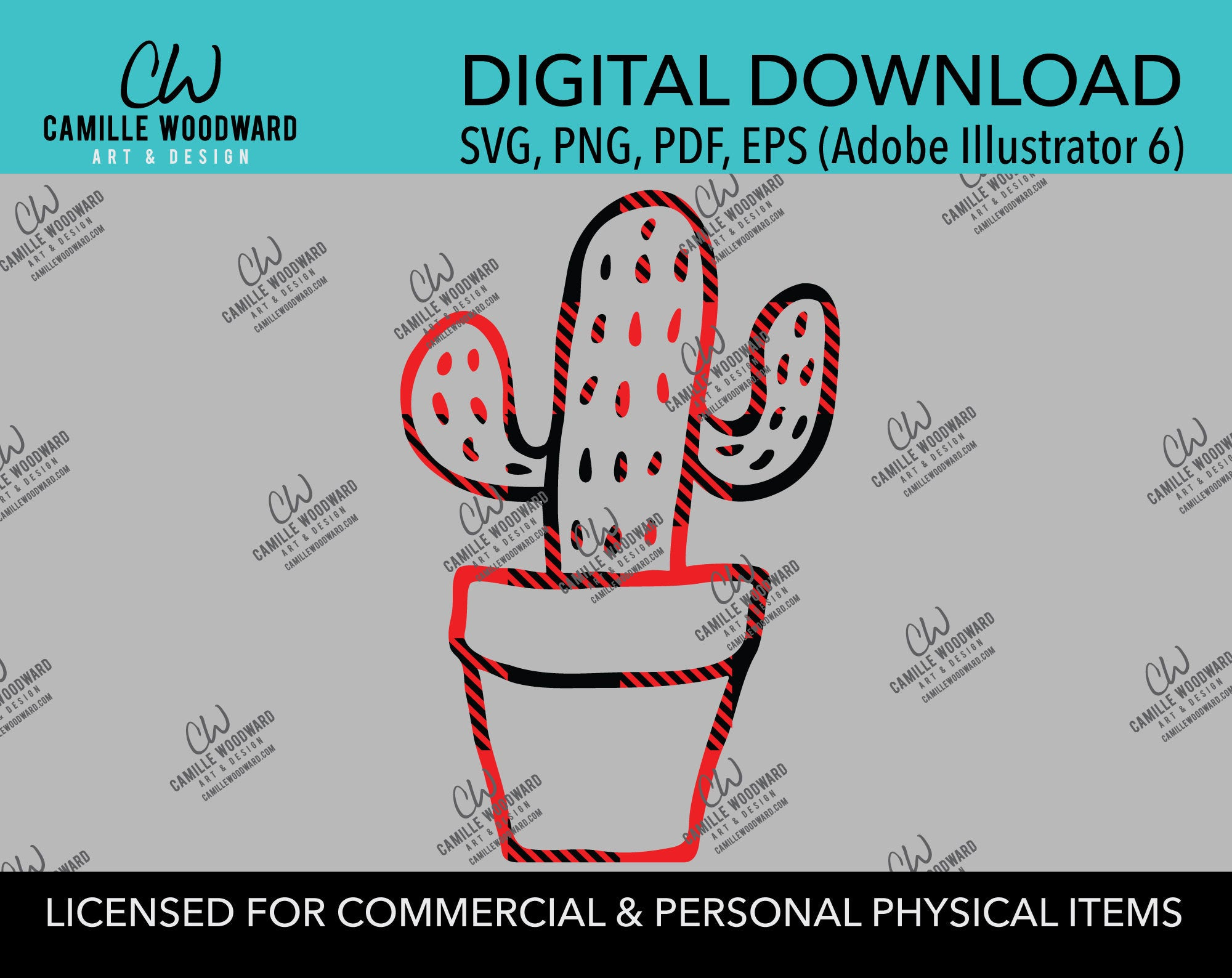 Buffalo Plaid Cactus Red Black Plaid Outline, SVG, EPS, PNG - Sublimation Digital Download Transparent