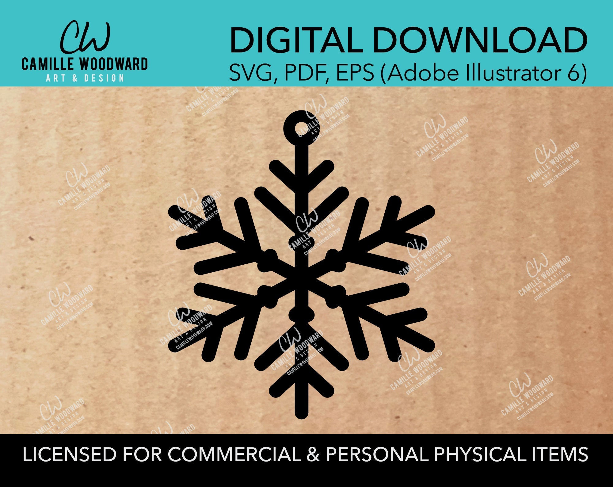 Snowflake Ornament - No Border, SVG - INSTANT Digital Download