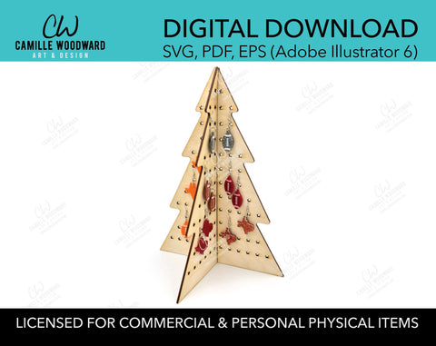 Earring Display Stand, Christmas Tree 3D - INSTANT Digital Download