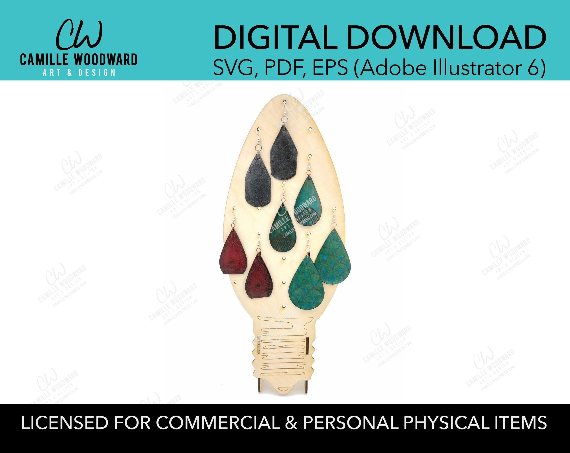 Earring Display Stand - Light Bulb, SVG - INSTANT Digital Download