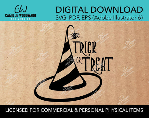 Trick Or Treat - Witch Hat with Spider, SVG - INSTANT Digital Download