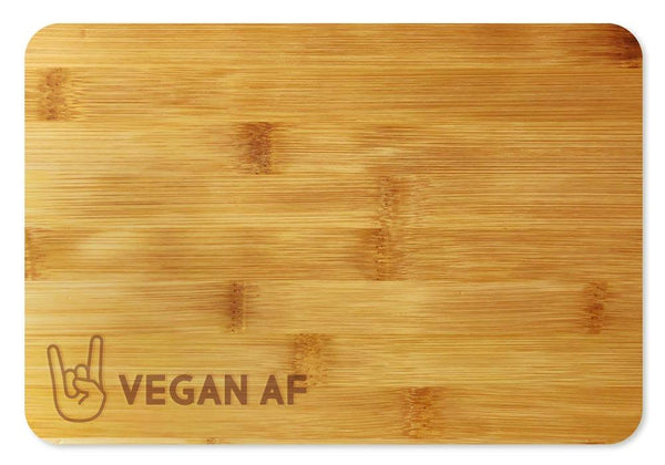 Vegan AF Rock Horns Fingers Cheese Tray / Cutting Board Bamboo