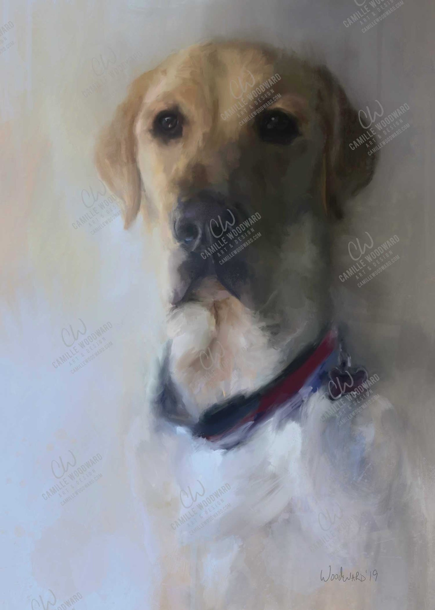 Yellow Labrador Retriever, Digital Painting - Digital Download