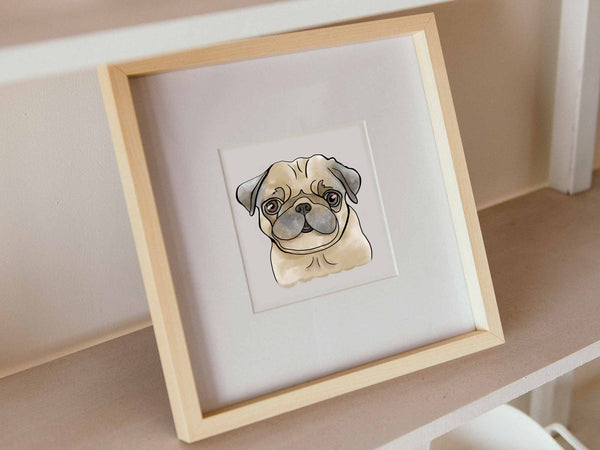 Pug Fawn Watercolor, PNG  - Sublimation Digital Download