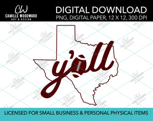 Texas Y'all Football A, Maroon, PNG - Sublimation Digital Download