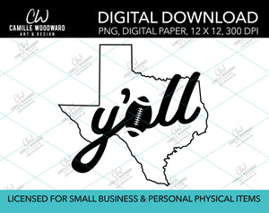 Texas Y'all Football A, Black, PNG - Sublimation Digital Download