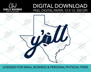 Texas Y'all Football A, Dark Blue, PNG - Sublimation Digital Download