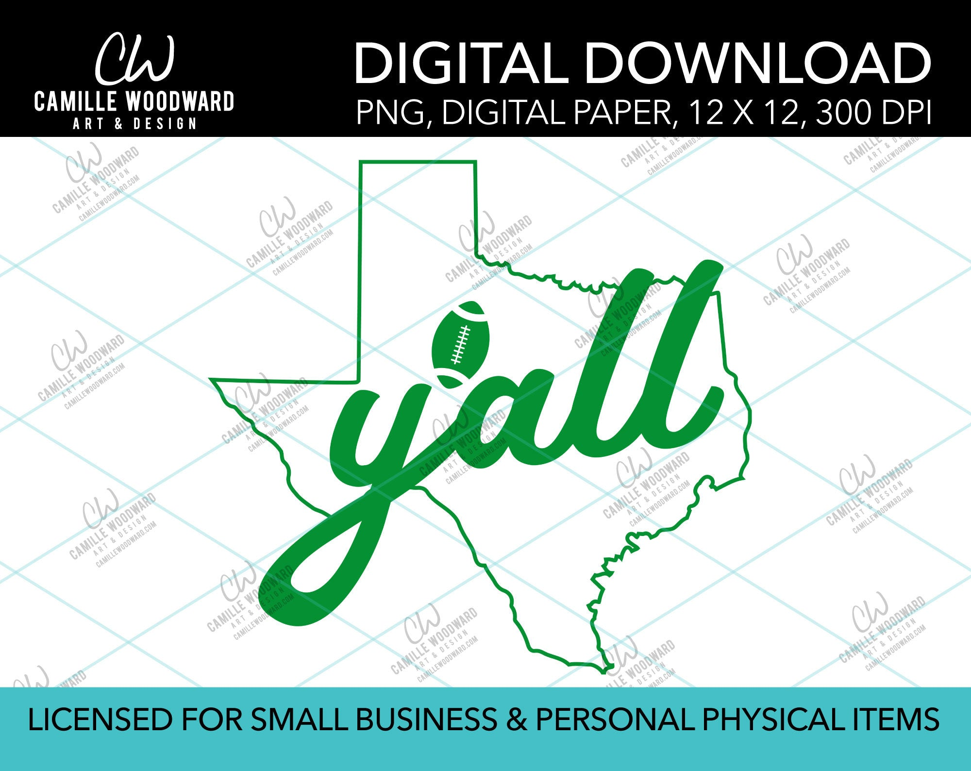 Texas Y'all Football, Green, PNG - Sublimation Digital Download