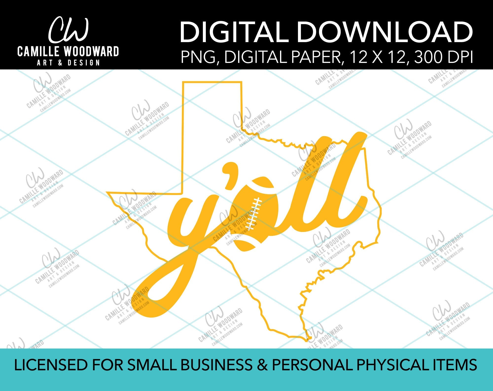 Texas Y'all Football A, Gold, PNG - Sublimation Digital Download