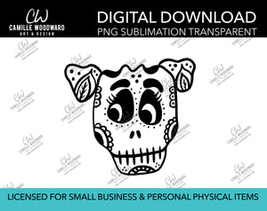 Sugar Skull Puppy Dog Black and White, PNG - Sublimation  Digital Download