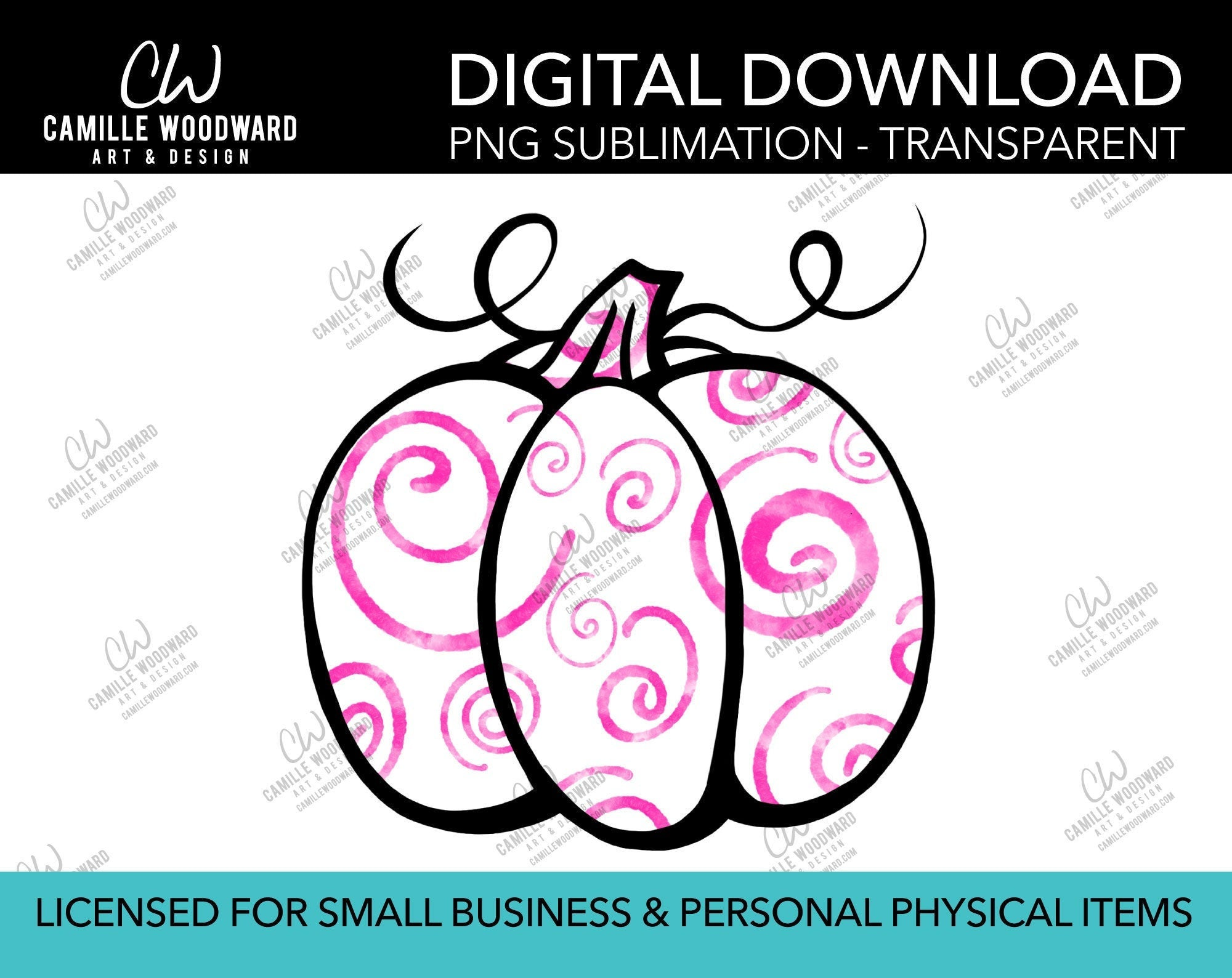 Pumpkin Magenta and White Swirls, PNG - Sublimation  Digital Download