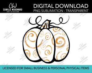 Pumpkin Gold and White Swirls, PNG - Sublimation  Digital Download
