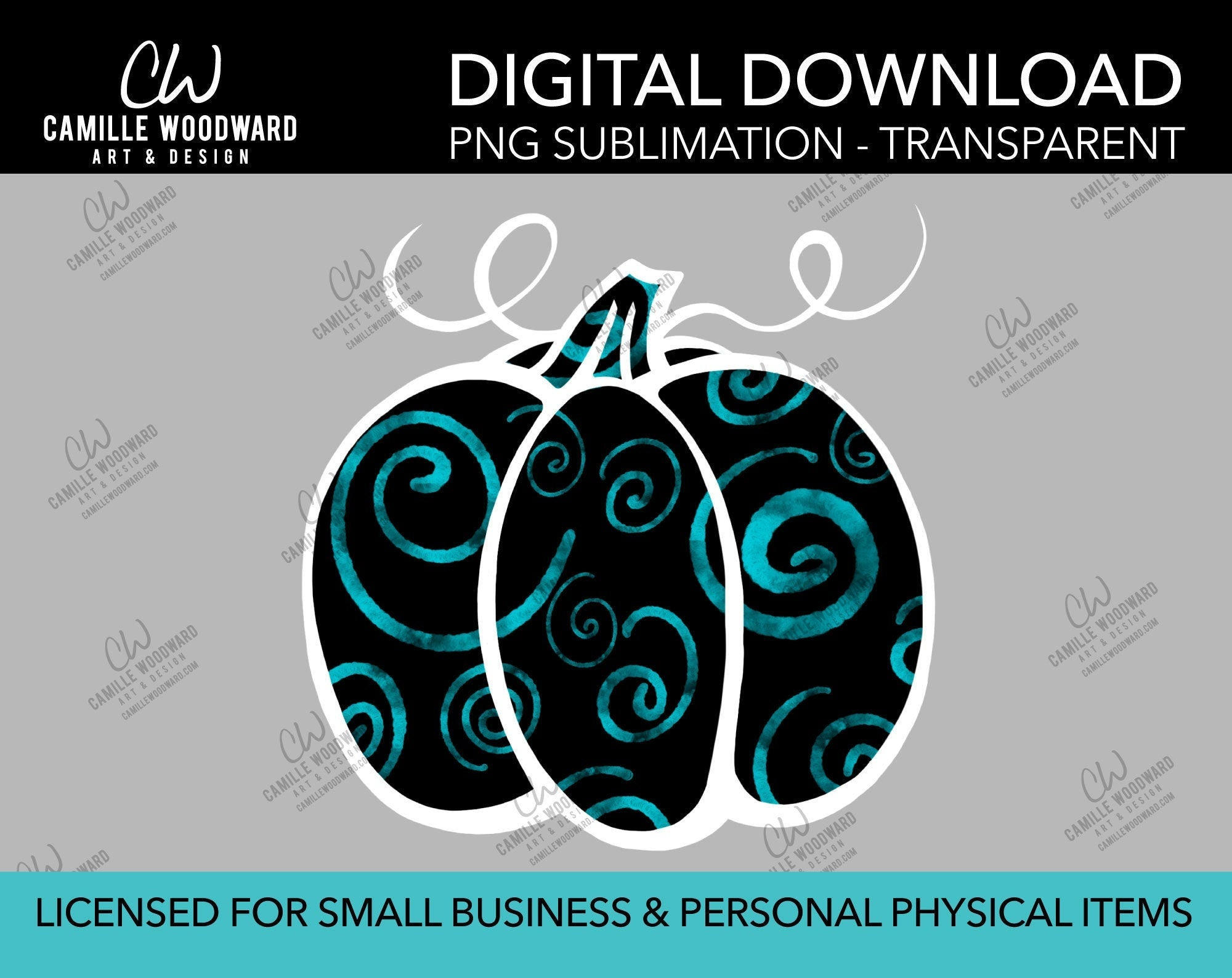 Pumpkin Turquoise and Black Swirls, PNG - Sublimation  Digital Download
