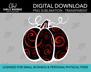 Pumpkin Red and Black Swirls, PNG - Sublimation  Digital Download