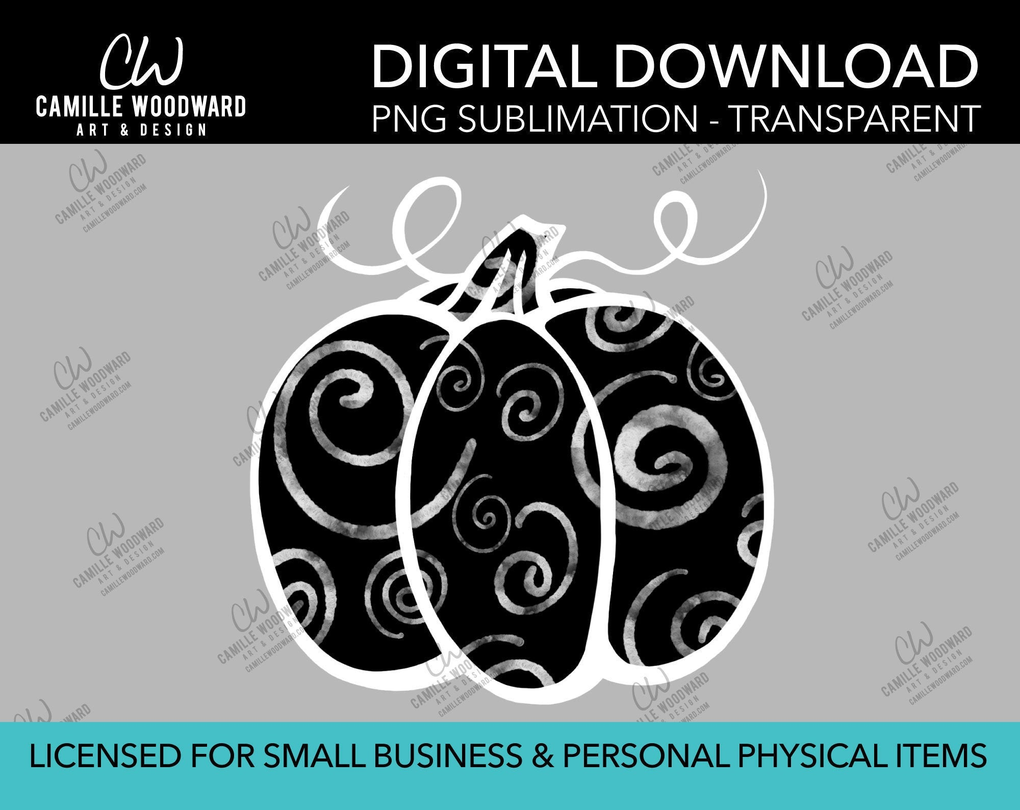 Pumpkin Gray and Black Swirls, PNG - Sublimation  Digital Download