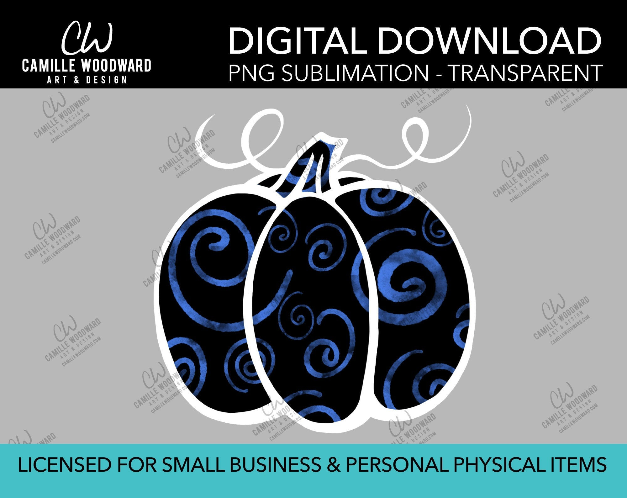 Pumpkin Blue and Black Swirls, PNG - Sublimation  Digital Download