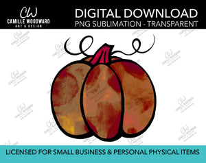 Pumpkin Rust Copper Watercolor Style Drawing, PNG - Sublimation  Digital Download