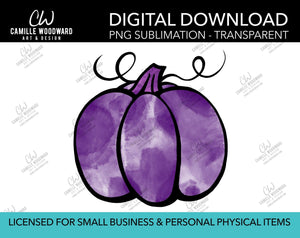 Pumpkin Purple Watercolor Style Drawing, PNG - Sublimation  Digital Download