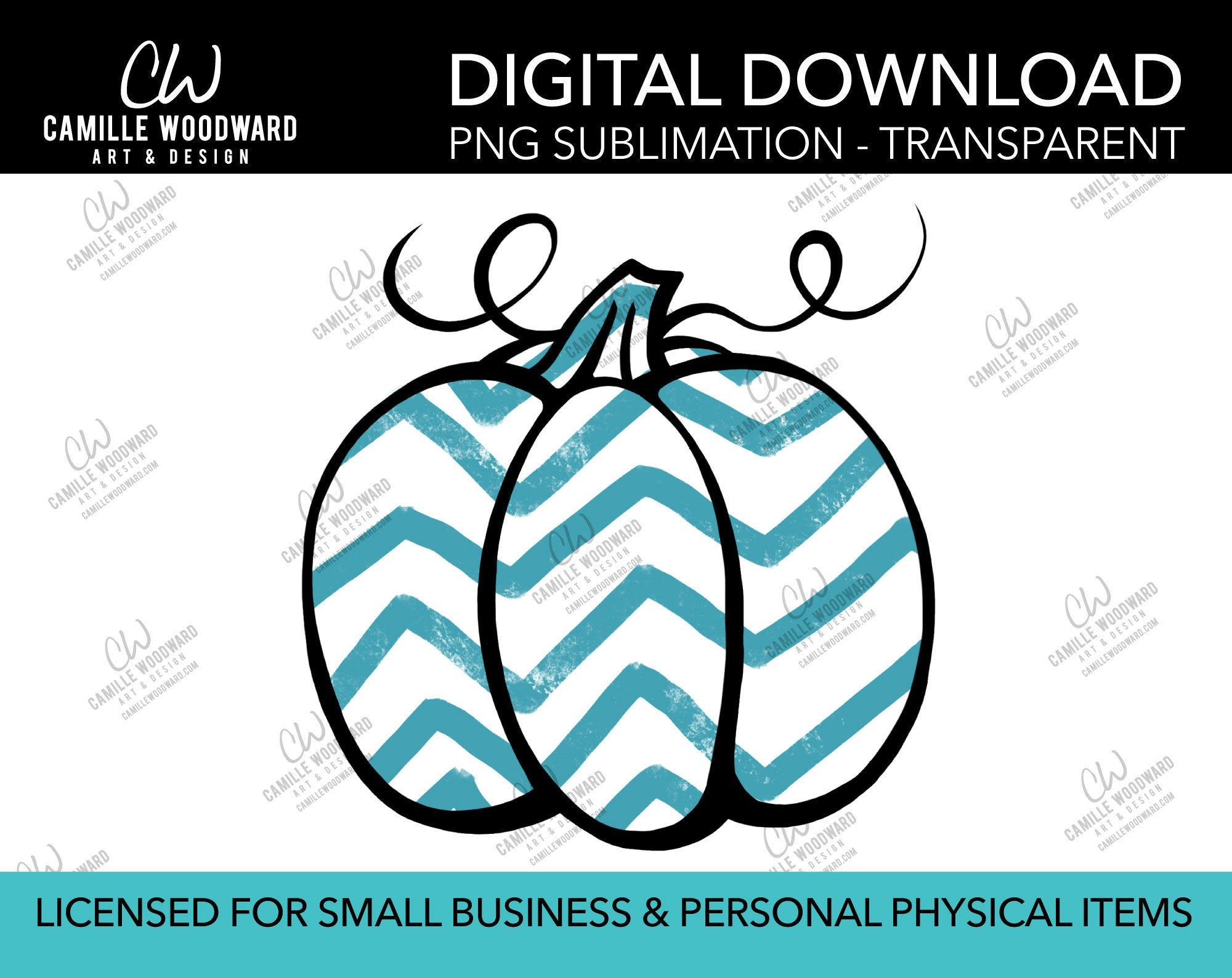Pumpkin Teal Gray and White Chevron, PNG - Sublimation  Digital Download
