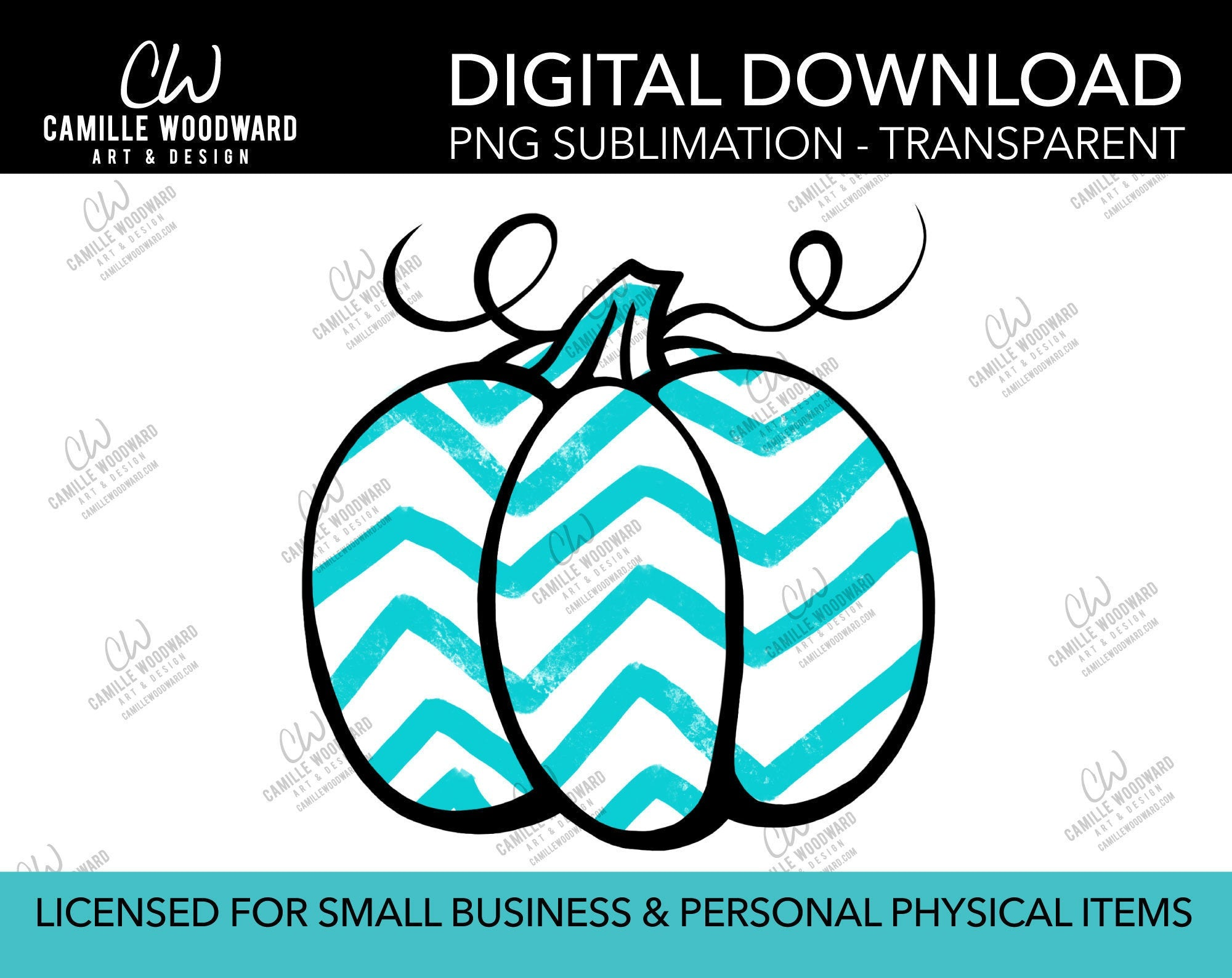 Pumpkin Turquoise and White Chevron, PNG - Sublimation  Digital Download