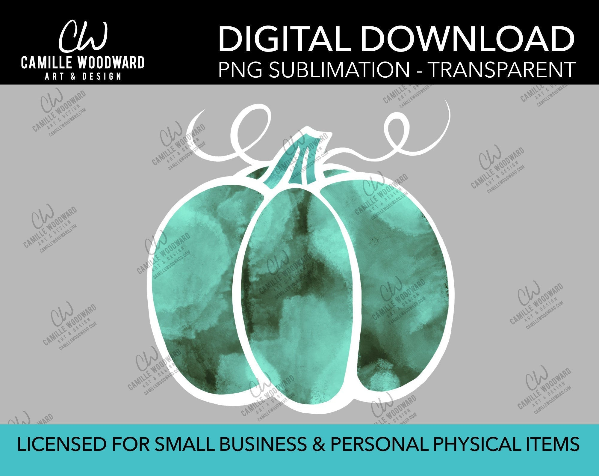 Pumpkin Turquoise Gray Watercolor Style Drawing, PNG - Sublimation  Digital Download
