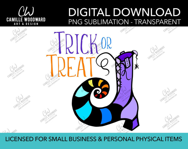 Trick or Treat Witch Boot, PNG - Sublimation  Digital Download