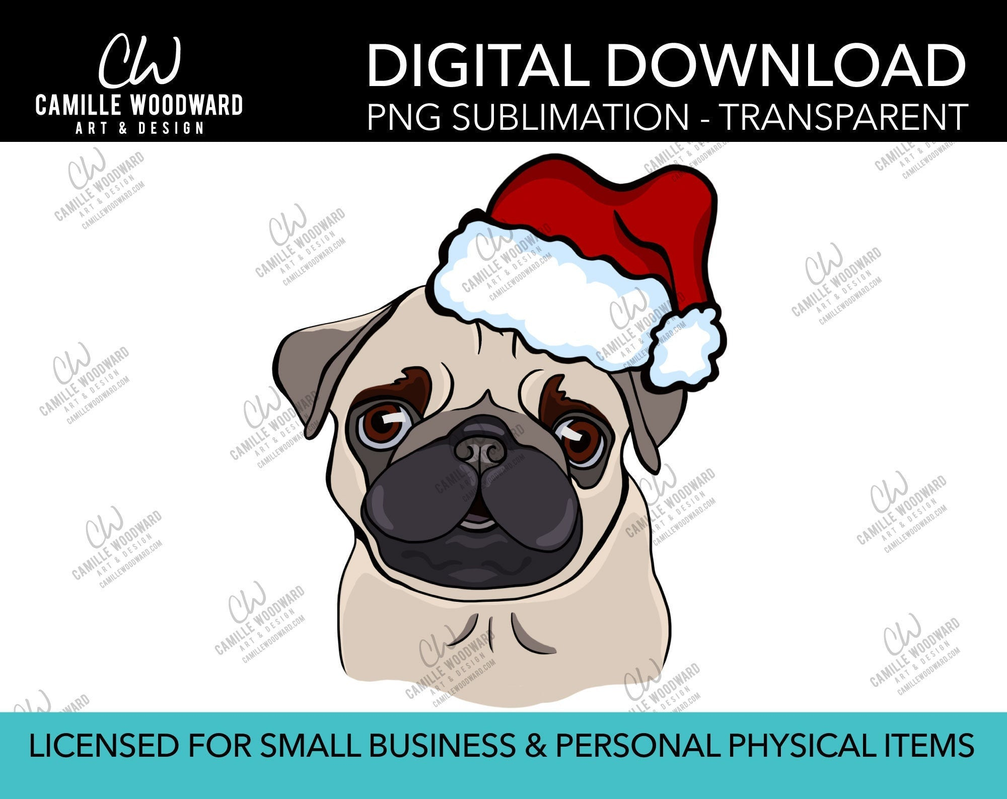 Pug Santa Hat, PNG  - Sublimation Digital Download
