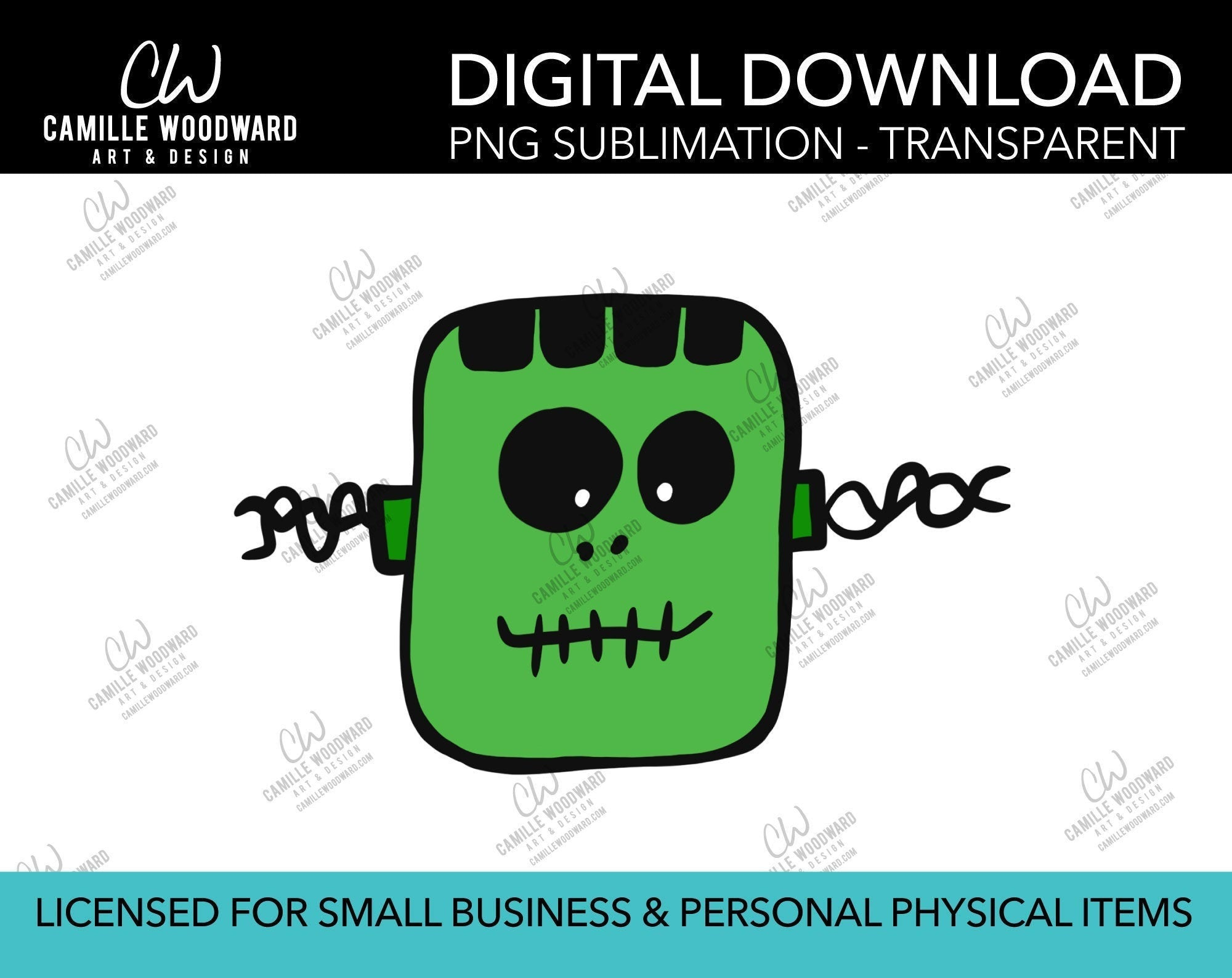 Friendly Frankenstein Face, PNG - Sublimation Digital Download