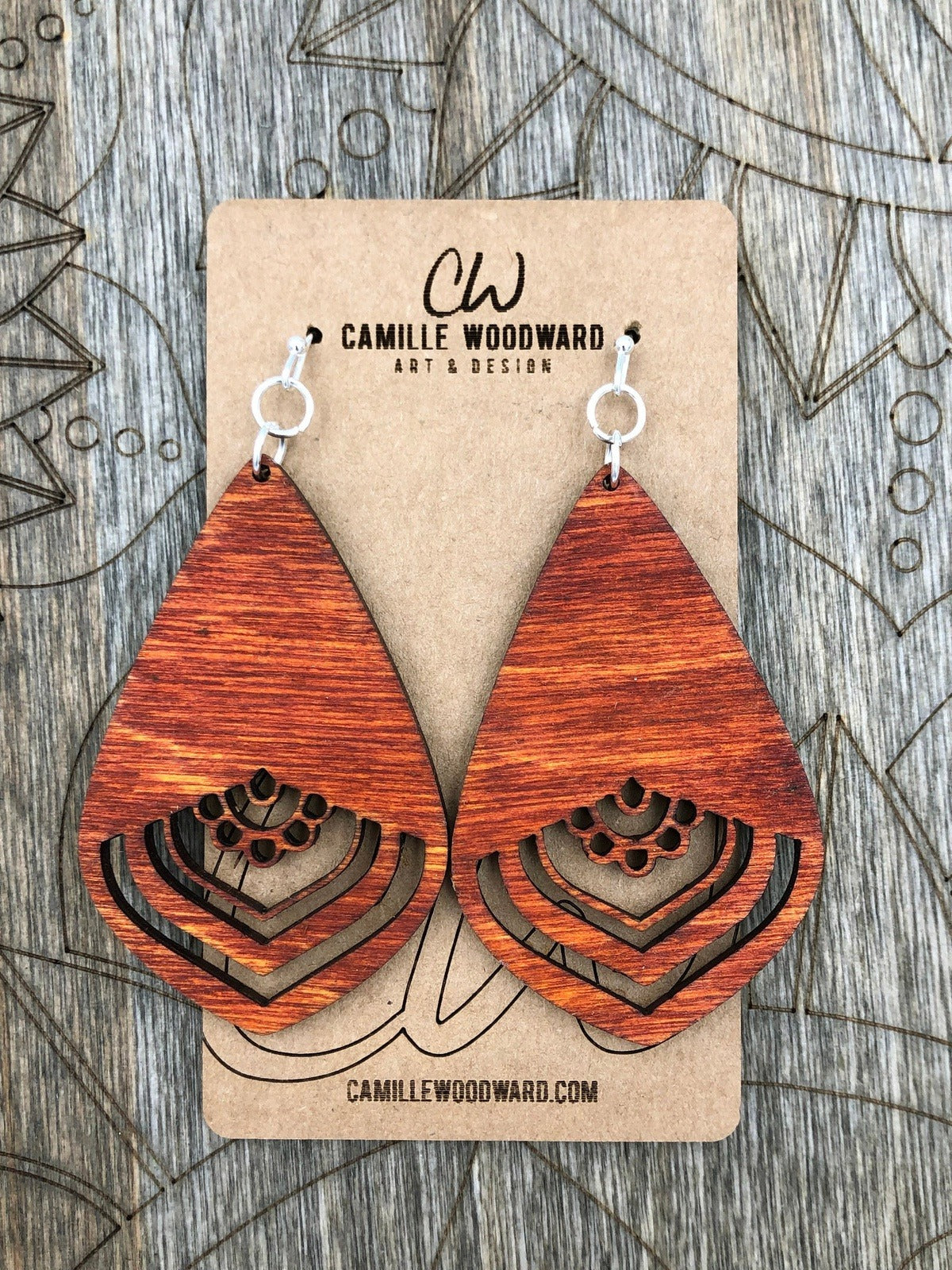 Mandala Earrings Teardrop Acrylic Wood