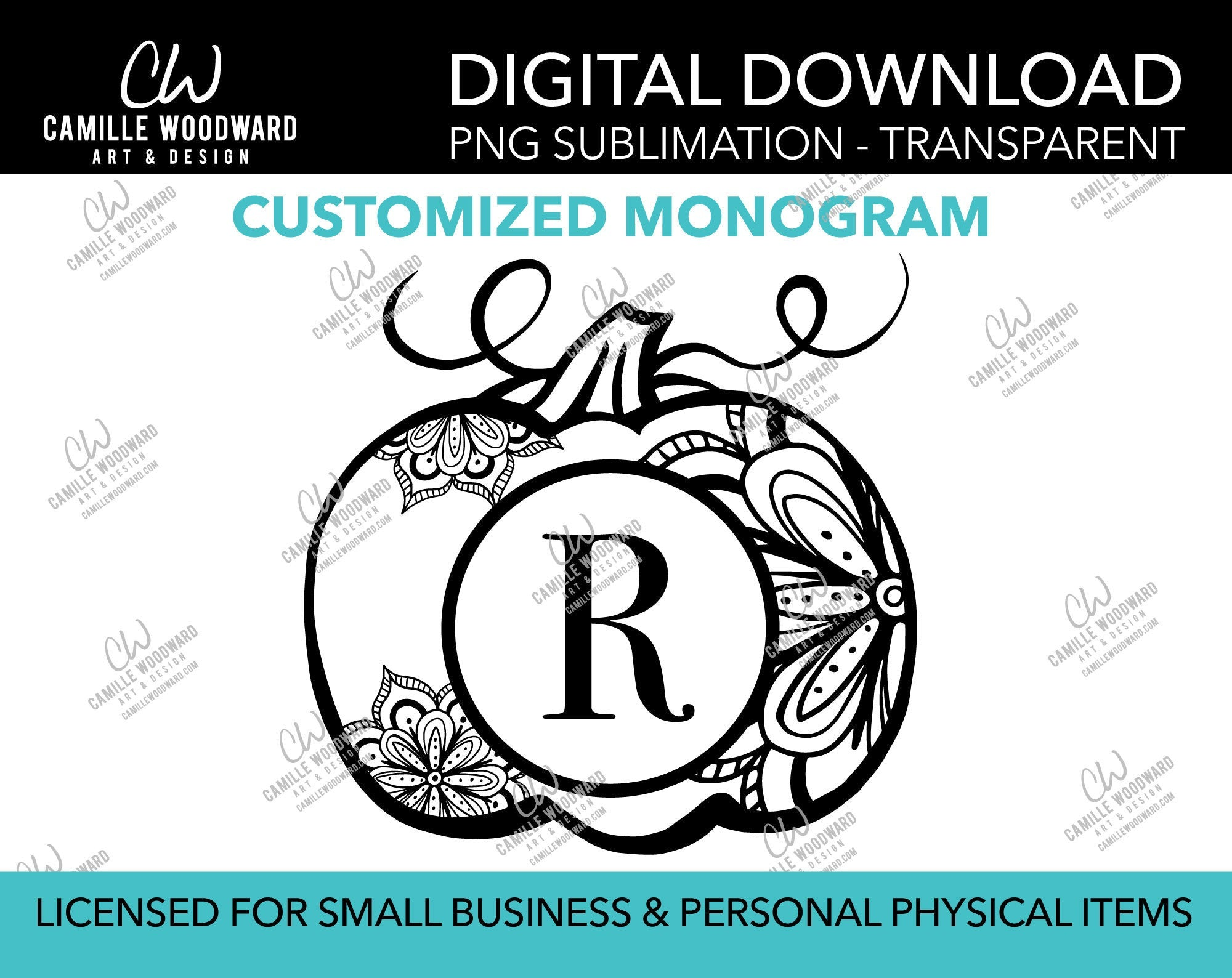 Mandala Pumpkin Monogram Personalized Black and White, PNG - Sublimation  Digital Download