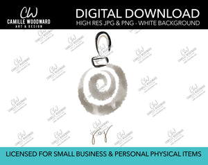 Christmas Ornament Swirl Watercolor Drawing Joy Text Warm Gray Tan - PNG JPG Digital Download