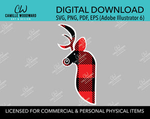 Buffalo Plaid Deer Head Red Black, White Outline, Swirly Nose, Hand Drawn, SVG, EPS, PNG - Sublimation Digital Download Transparent