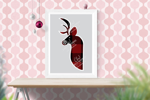 Buffalo Plaid Deer Head Maroon Black, White Outline, Swirly Nose, Hand Drawn, SVG, EPS, PNG - Sublimation Digital Download Transparent