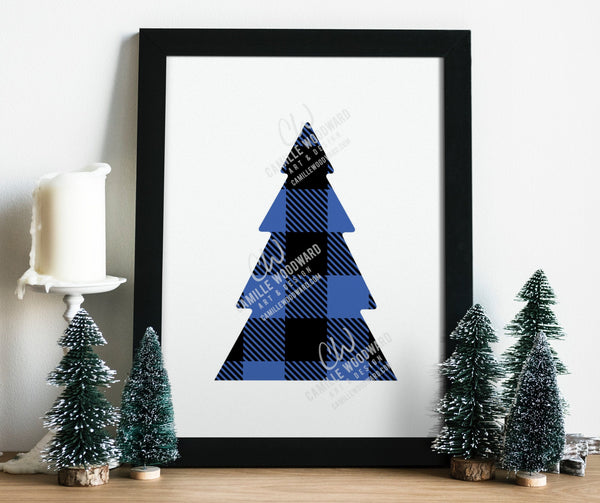 Buffalo Plaid Christmas Tree Blue Black, SVG, EPS, PNG - Sublimation Digital Download Transparent