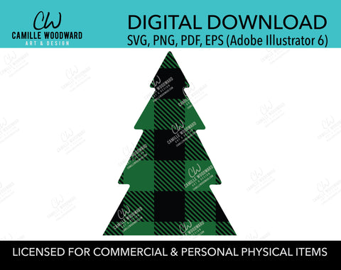 Buffalo Plaid Christmas Tree Green Black, SVG, EPS, PNG - Sublimation Digital Download Transparent