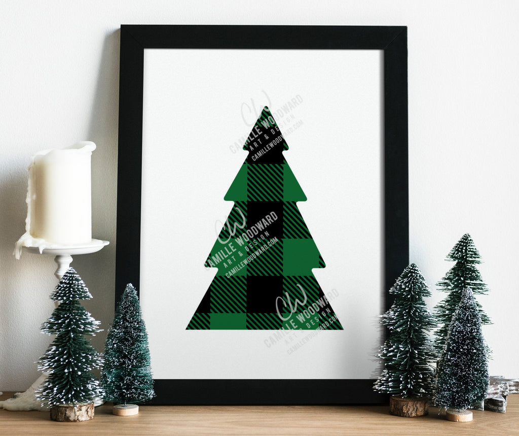 Buffalo Plaid Christmas Tree Green Black Svg Eps Png Sublimation Camille Woodward Art Design