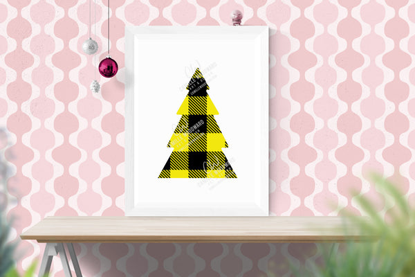 Buffalo Plaid Christmas Tree Yellow Black, SVG, EPS, PNG - Sublimation Digital Download Transparent