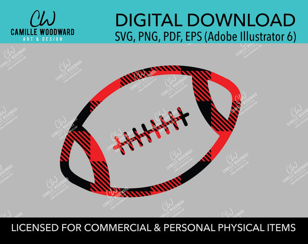 Buffalo Plaid Football Red Black Outline, SVG, EPS, PNG - Sublimation Digital Download Transparent