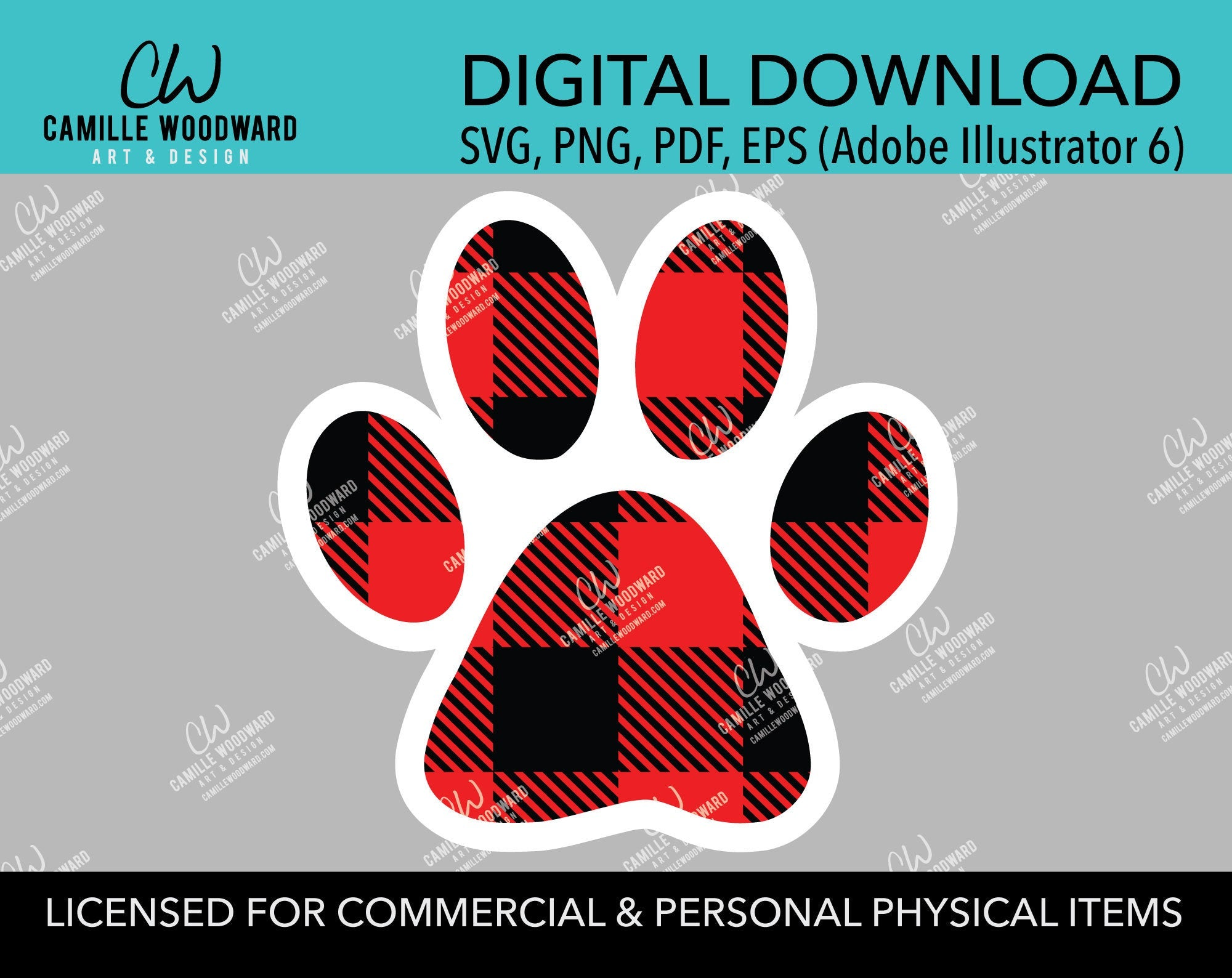 Buffalo Plaid Paw Print Red Black Pads White Outline, SVG, EPS, PNG - Sublimation Digital Download Transparent