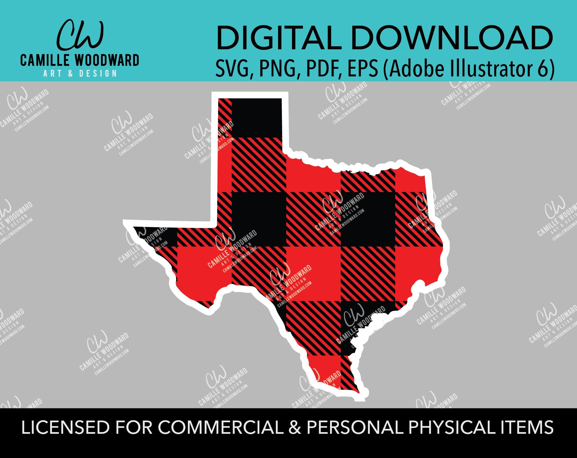 Buffalo Plaid Texas Red Black White Outline, SVG, EPS, PNG - Sublimation Digital Download Transparent