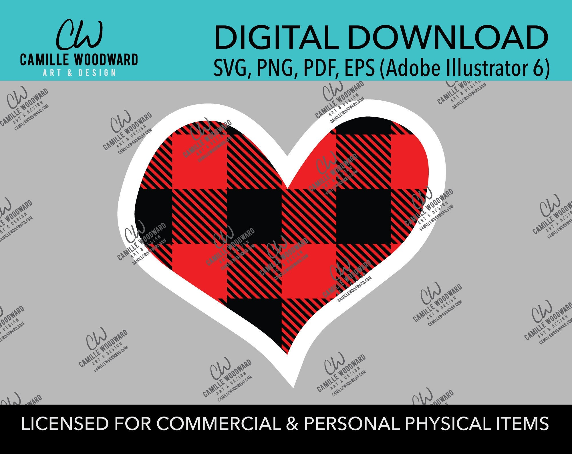 Buffalo Plaid Heart Red Black White Outline, SVG, EPS, PNG - Sublimation Digital Download Transparent