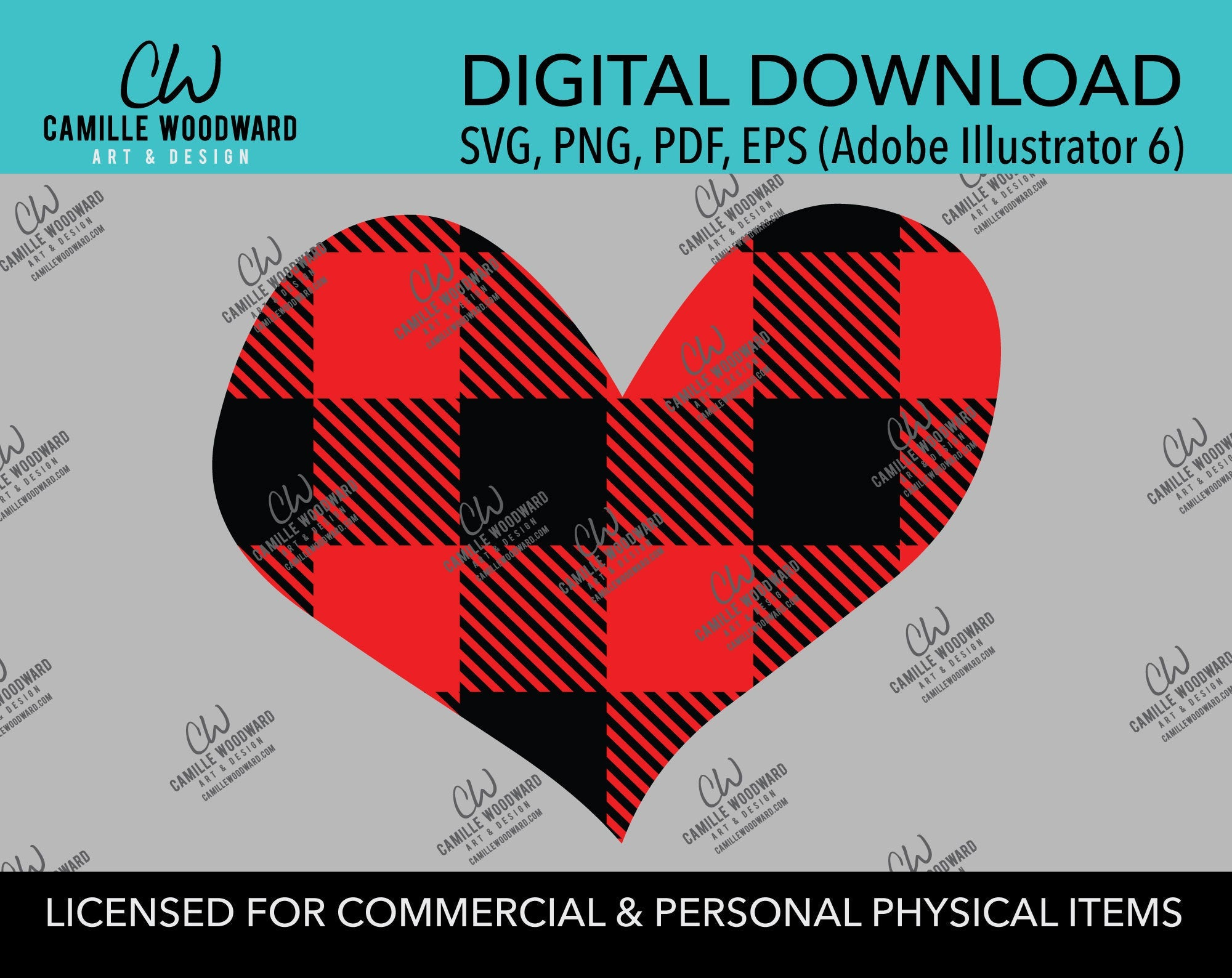 Buffalo Plaid Heart Red Black No Outline, SVG, EPS, PNG - Sublimation Digital Download Transparent