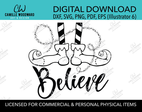 Christmas Elf Shoes Believe Sparkle Jingle Bell Black and White, SVG, EPS, PNG - Sublimation Digital Download Transparent