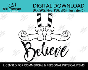 Christmas Elf Shoes Believe Jingle Bell Black and White, SVG, EPS, PNG - Sublimation Digital Download Transparent
