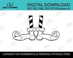Christmas Elf Shoes Jingle Bell Striped Black and White, SVG, EPS, PNG - Sublimation Digital Download Transparent