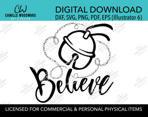 Christmas Believe Jingle Bell Sparkle Black and White, SVG, EPS, PNG - Sublimation Digital Download Transparent