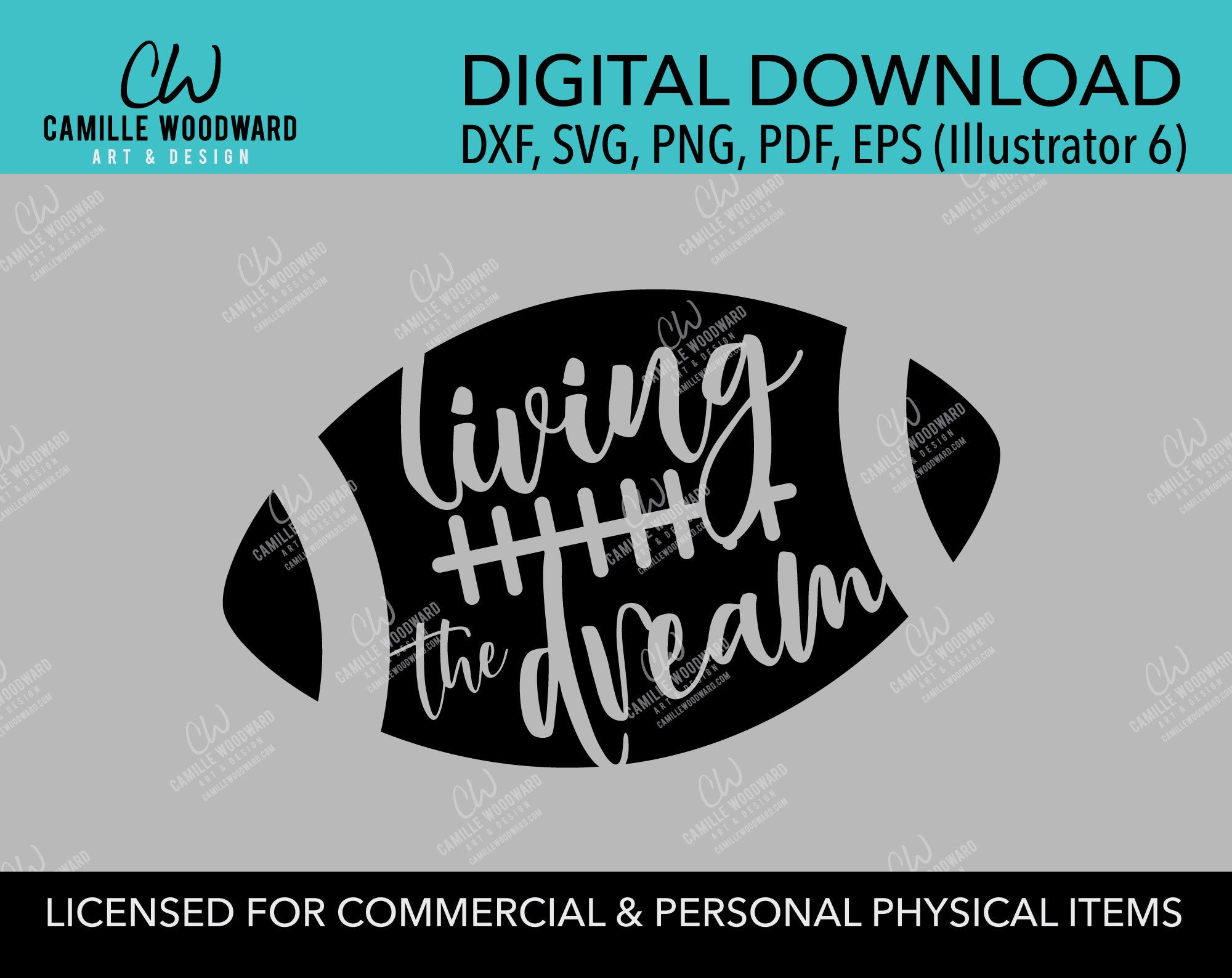 Football Living the Dream Black and White, SVG, EPS, PNG - Digital Download Transparent